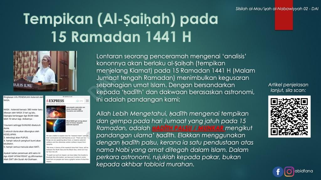 Tempikan Al Saihah Pada 15 Ramadan 1441h Ulasan Daripada Sudut Hadith Abidfana Com